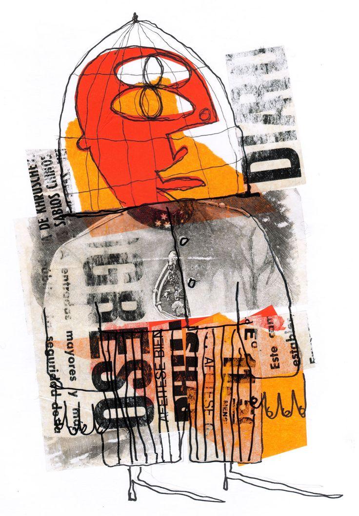 """Rodrigo Gárate Chateau, """"HÉROES NACIONALES"""" (2015). Héroes nacionales son condecorados por librar batallas emocionales. Papel Volantín. Collage de recortes tipográficos. Lápiz de tinta."""