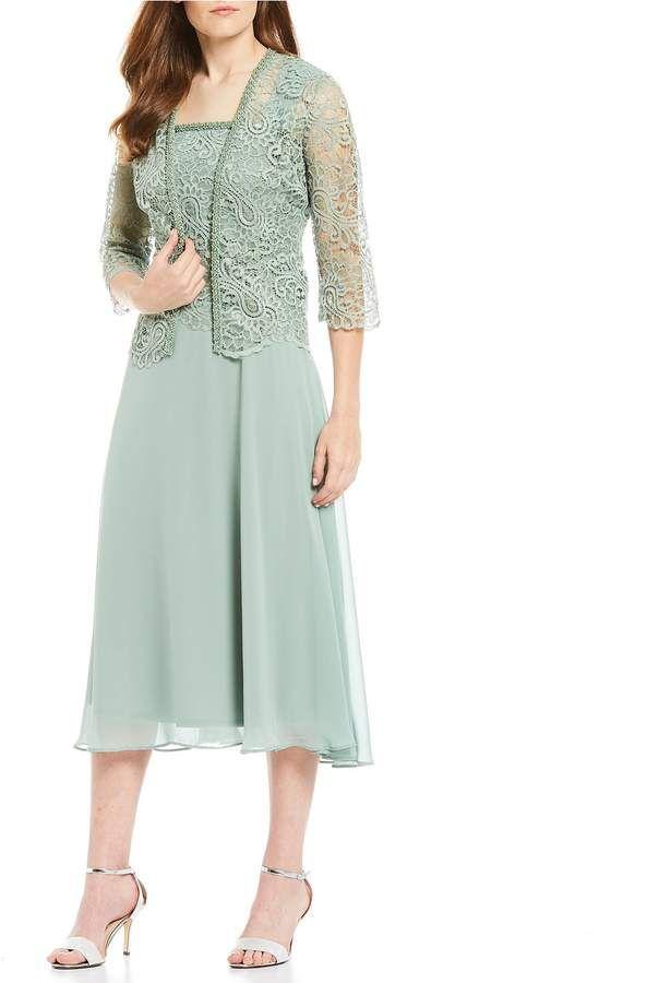 Le Bos Two Piece 3 4 Sleeve Lace Chiffon Tea Length Jacket Dress Set Jacket Dress Set Set Dress Jacket Dress