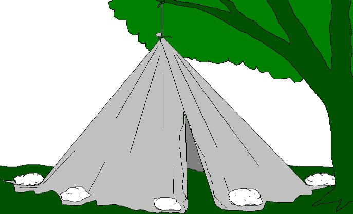 Tarp Shelter. Genius. Tarp, tennis ball or rock, paracord, etc., and rocks or wet sand. Instant tent.