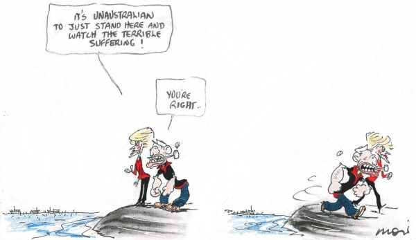 OUT OF SIGH , OUT OF MIND : ABBOTT AND CO MOTTO Cartoon by ALAN MOIR.