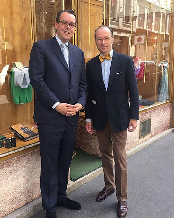Mr. Venturini wears one of his suits, when meeting world famous menswear author Bernhard Roetzel.