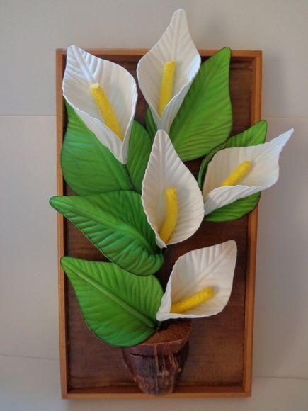 Quadro com Aplique de flor em E.V.A