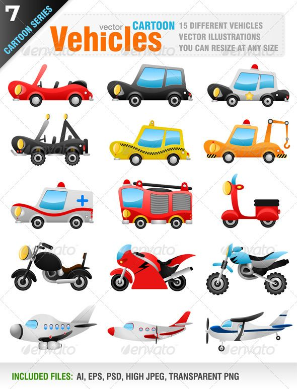 15 Vector Vehicles #GraphicRiver Vector set of 15 different cartoon style vehicles. Car, police car, jeep, taxi, ambulance, fire truck, service truck, motorcycle, airplane. Ai, eps, psd, high jpeg and transparent png files included in the zip file. Each vehicle included in different layer for ai, eps and psd documents. You can see other vehicle illustrations from my portfolio.. Please, dont forget to rate my vectors! Thank you TRANSPORTATION / VEHICLES Created: 24September12…