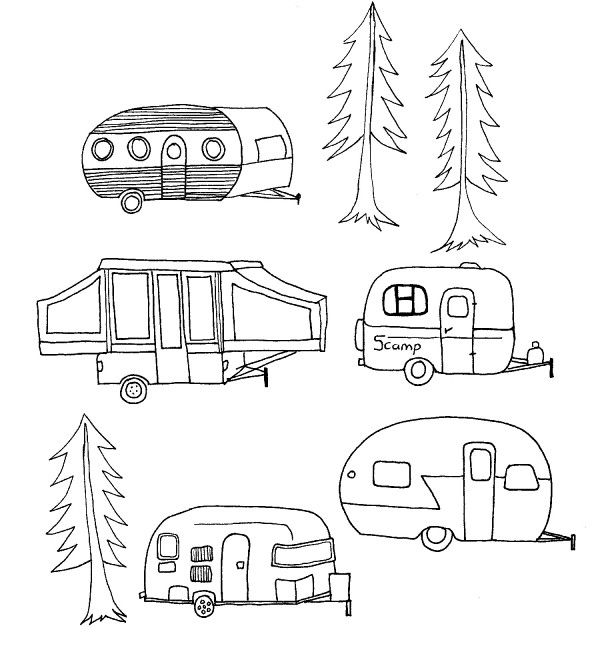 Could do one camper centered with trees surrounding it.