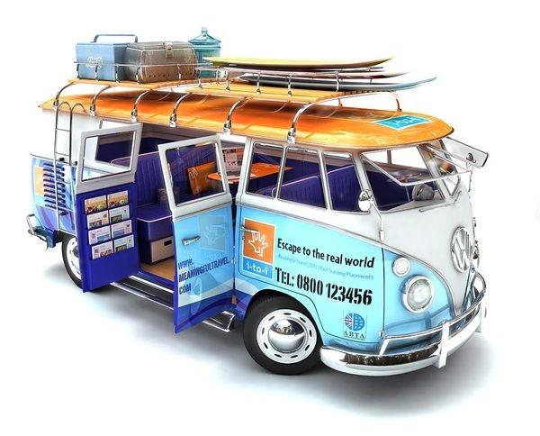 3d model of a camper van by Andrew Shillito, via Behance