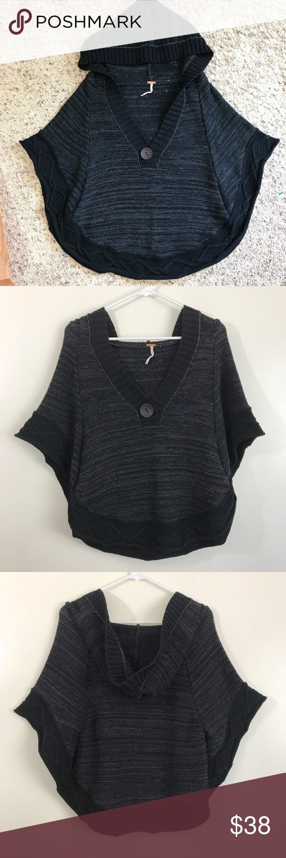 Free People gray black poncho knit sweater top Excellent condition  Free people  Size xs/s   Very cute and stylish poncho hoodie sweater  Dark gray to black color Free People Tops Sweatshirts & Hoodies
