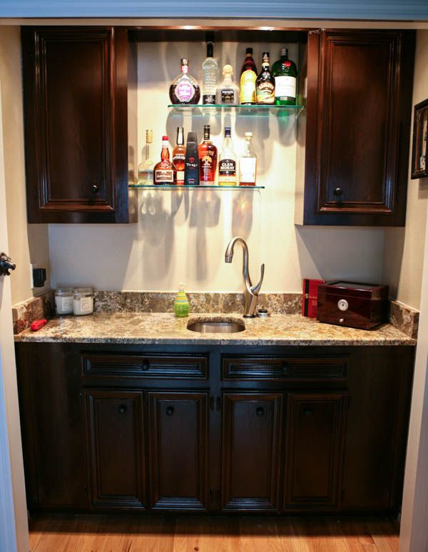 Home office and wet bar makeover by for Wet bar decor
