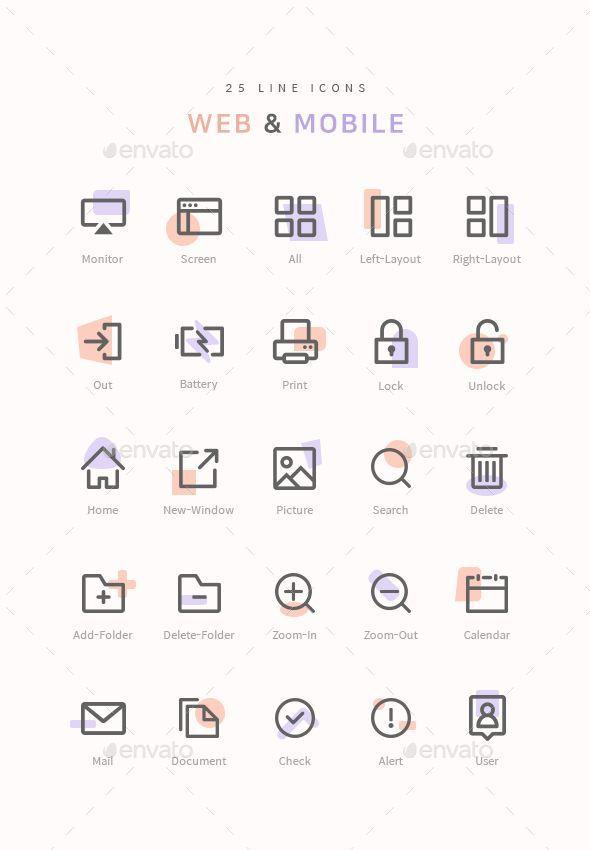 25 Line Web Mobile Icons Web Line Icons Mobile Web Design Icon Web Design Quotes Icon Design