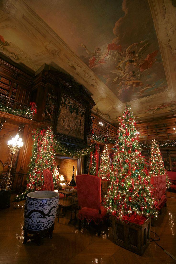 Christmas at biltmore house christmas decorations inside b - The Library Inside Biltmore House Decorated For Christmas 2014