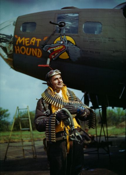 Volume 1, Page, 55, Picture, 3, World War II, 4th May,1943, US Staff Sergeant Frank T, Lusic, pictured beside a bomber (Photo by Popperfoto/Getty Images)