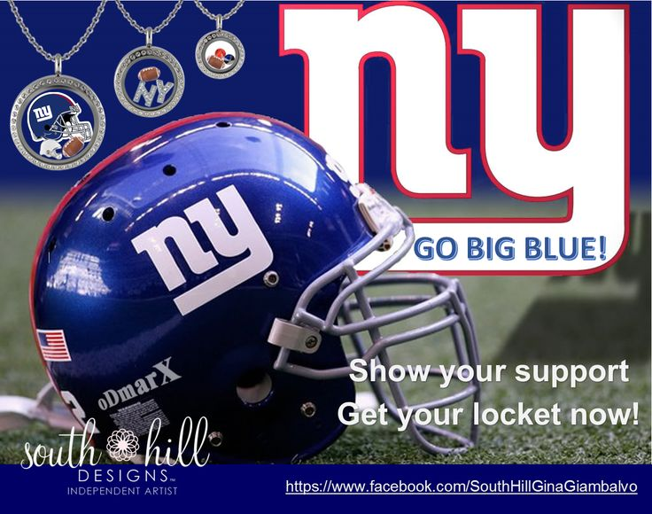 #Giants GO BIG BLUE!!!!! NY Giants custom lockets from South Hill Designs by Independent Artist Gina Giambalvo