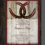 "This rustic country western wedding invitation has two intertwined horseshoes at the top of the invitation. The background is distressed barn wood print. The back of the invitation has the same rustic country style design with the word ""Love"" in script. You could change this wording to personalize it with the bride and groom's names if you wanted to. These country theme wedding invitations are perfect for cowboy weddings. Just add your own wedding details to the invite. ..."