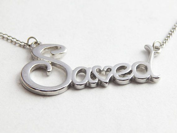 Saved Necklace Christian Jewelry Jesus Necklace Spiritual Christmas Necklace Silver Saved by TheBlackerTheBerry