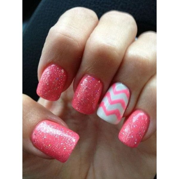 50 Lovely Pink and White Nail Art Designs ❤ liked on Polyvore featuring beauty products and nail care