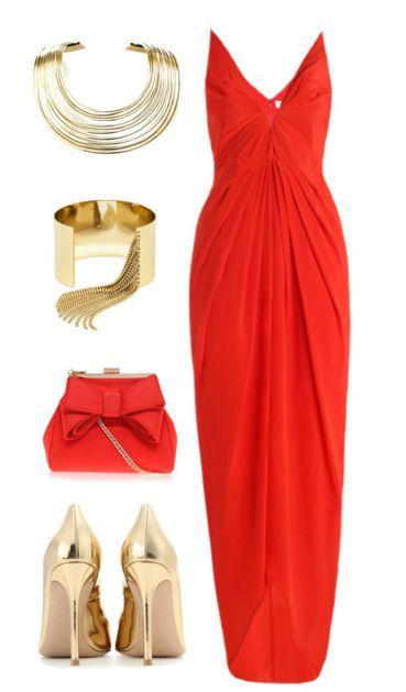 С чем носить длинное красное платье фото