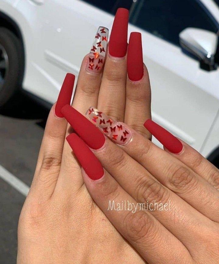 Karen Bernal On Instagram Nudenails Redtipnails Butterflynails Red Acrylic Nails Pretty Acrylic Nails Long Acrylic Nails