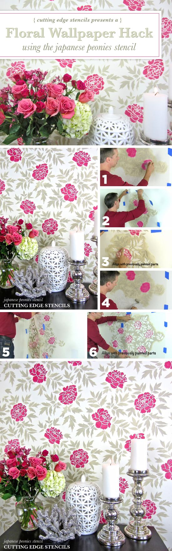 217 best flower stencils decor images on pinterest flower cutting edge stencils shares how to stencil a floral accent wall to get a wallpaper look amipublicfo Images