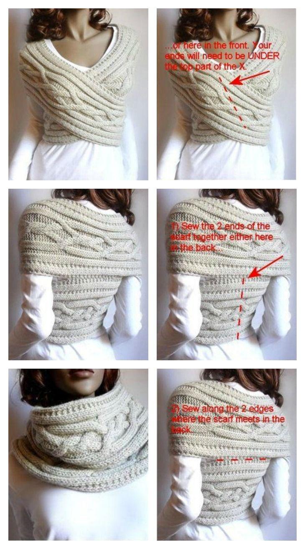 DIY Chic Cable Knit Gugel und Pullover in einem