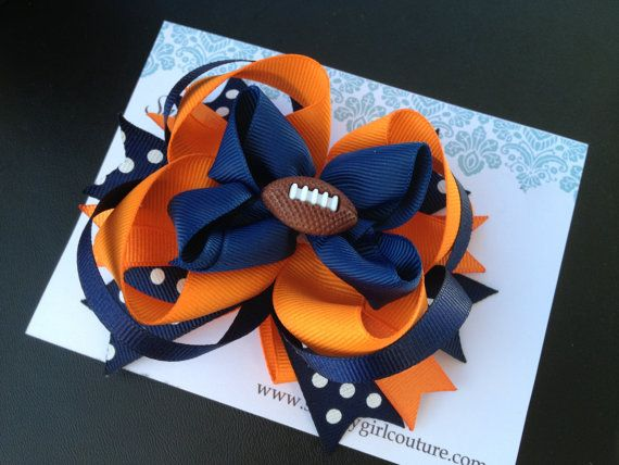 NFL Football Hair Bow by ShabbyGirlCouture on Etsy