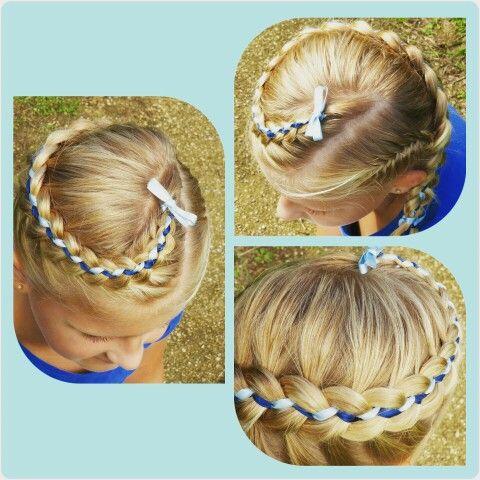 Vijf strengen vlecht met lint / five strand braid with ribbon. Bruidsmeisje /communie kapsel! www.mooibijmaaike.nl