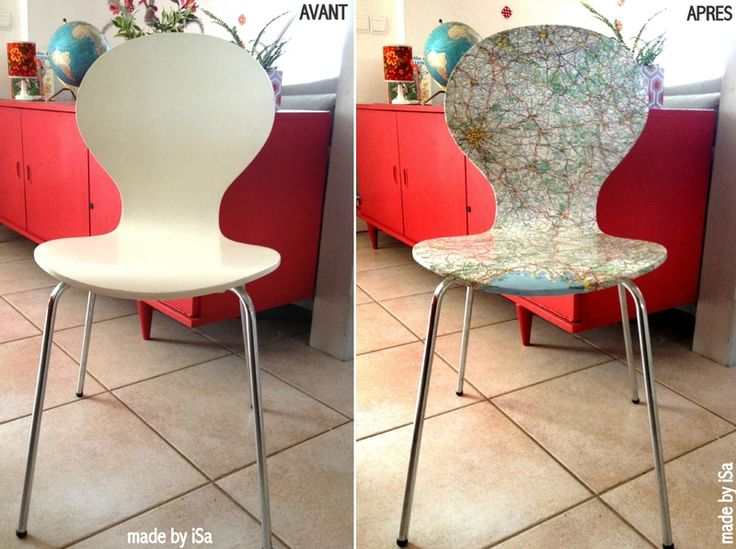 Relooking chaise avec anciennes cartes routi res made - Customiser chaise formica ...
