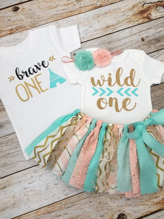 5b19b8ead Twin Boy/Girl 'Wild One' First Birthday Outfits, Peach/Pink, Mint and Gold  Wild One Birthday Outfit,