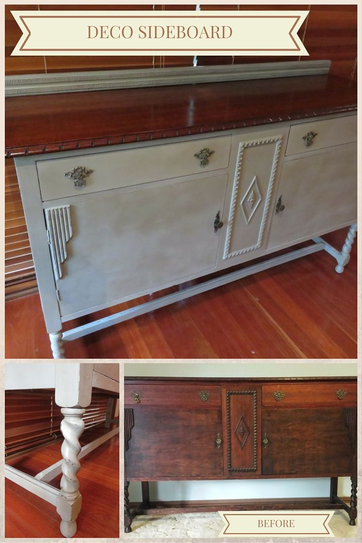 This Deco-style sideboard was finished in French Linen chalk paint with the top finished in shellac.