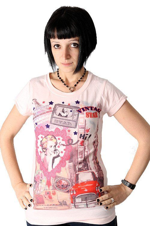 Yumi Pink Vintage Top Retro Tee Marilyn Monroe Hollywood Stars T-Shirt #75%-OFF!! #Authentic #Bargain