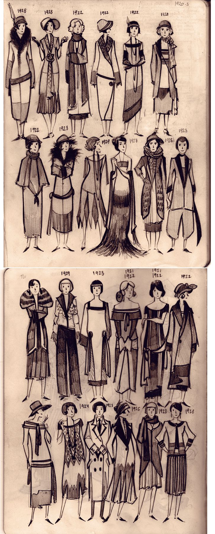 1920's women's fashion; 1923, waist lines began to drop to between the natural waist and the hip; 1924 waistlines drop to the hip; 1928 hem lines start to rise to the knee