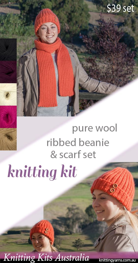 Warm and cosy pure wool Cleckheaton California yarn features in this kit - proving luxury doesn't have to come with a hefty pricetag.  Kit includes instructions for both beanie and scarf, plus two wooden decorative buttons to complete this easy knitting project.  Can't picture yourself in orange?  Choose the perfect shade for you from the range of options on our website now.