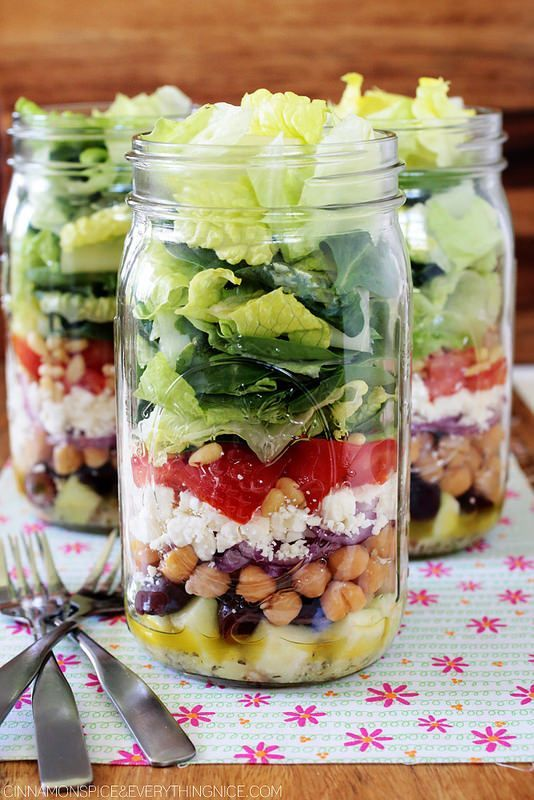 Greek Mason Jar Salads - would definitely replace the pine nuts with chicken to pump this salad up!