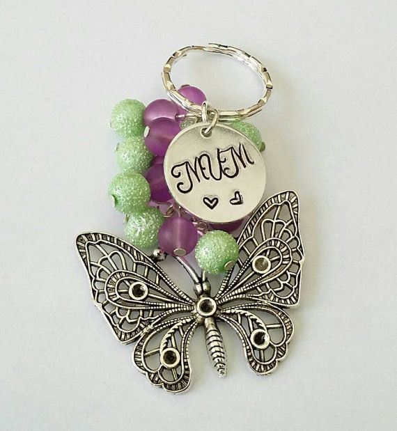 MUM butterfly keyring, hand-stamped, beaded keychain, family gifts, personalised, inspirational quotes, Mother's day gifts, gifts for mums