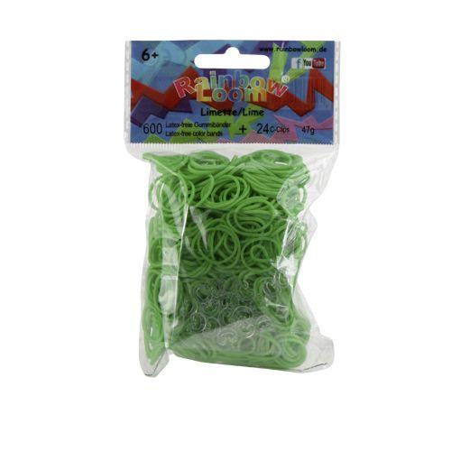 Rainbow Loom Lime helder met 24 clips. Nieuwste rage, wees er snel bij! Maak met de clips en elastiekjes de mooiste armbandjes en accessoires. Dit zakje bevat maar liefst 600 lime heldere elastiekjes en 24 clips.  http://www.planethappy.nl/rainbow-loom-lime-helder-met-24-clips.html