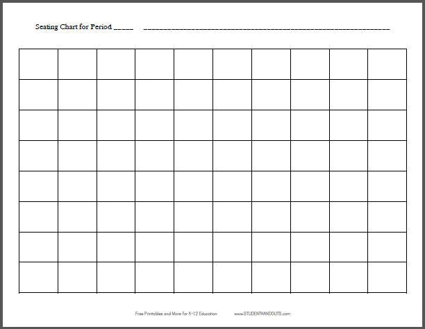 10x8 Horizontal Classroom Seating Chart Template Free Printable For Teachers K 12 Education