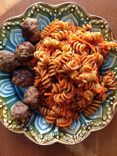 Baked Veggie Pasta with Easy Homemade Italian Meatballs
