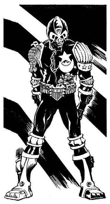 "gurumog: ""Early Ian Gibson Dredd art. """