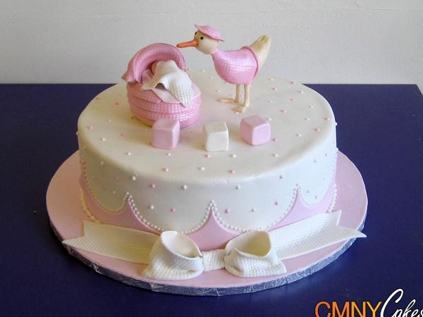 Pink Stork Baby Shower Cake