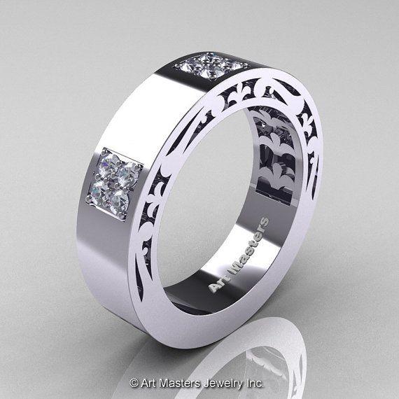 mens modern vintage 14k white gold diamond wedding by artmasters 175900 - Man Wedding Rings