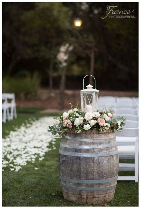 rustic wine barrel and white lantern wedding ceremony decor via Jessica Van of France Photographers