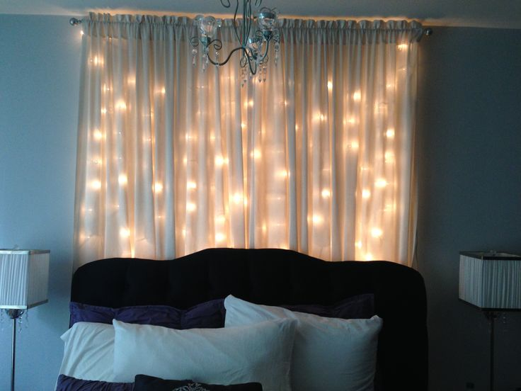 Long String Lights For Bedroom : Christmas light curtain headboard Bedroom Ideas Pinterest Curtain headboards, Christmas ...