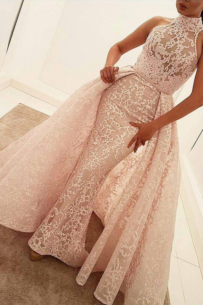 6e5a001c38 Mermaid High Neck Court Train Detachable Light Pink Lace Prom Dress ...