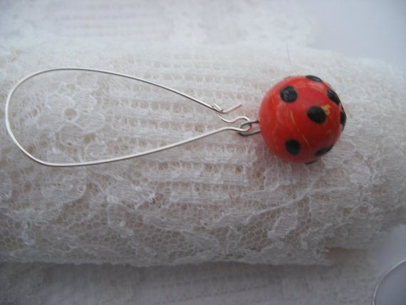 Black and red funky earrings ,  unique handmade items, coral beads with black spots,  silver kidney wires, clay design by Lilo, Boho style