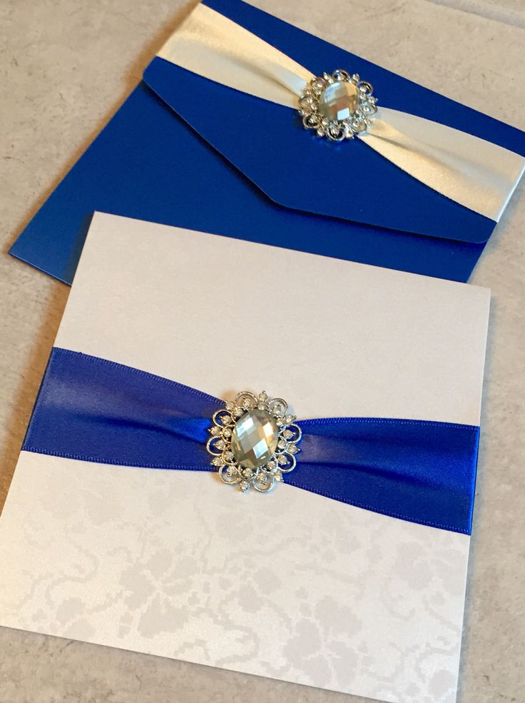 Pocketfold Wedding Invitations with Ribbon Band and Large Diamanté Brooch