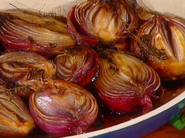 Roasted Red Onions with Butter, Honey, and Balsamic Vinegar recipe from Tyler Florence via Food Network