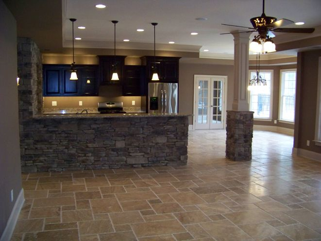 Lovely Basement Refinish The Stone Accent Is Gorgeous