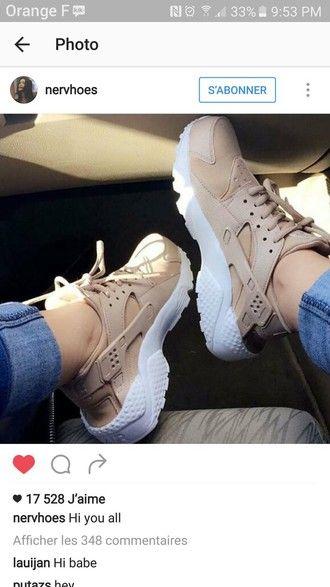 shoes nike nike air huaraches nude beige