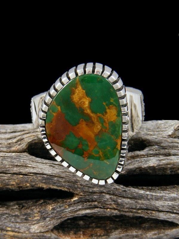 Natural Manassa Turquoise Sterling Silver Ingot Ring, Size 7 1/2