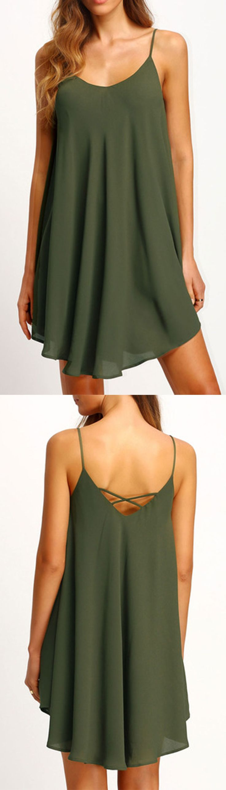 Army Green Asymmetrical Criss Cross Back Spaghetti Strap Sundress
