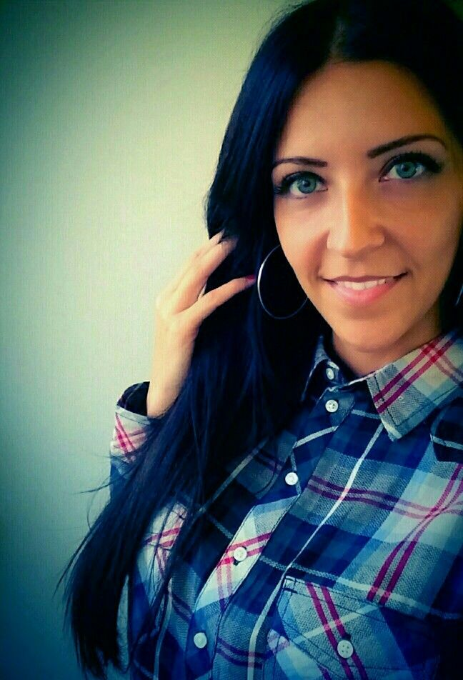 #blackhair #plaidshirt #smiley #greeneyes