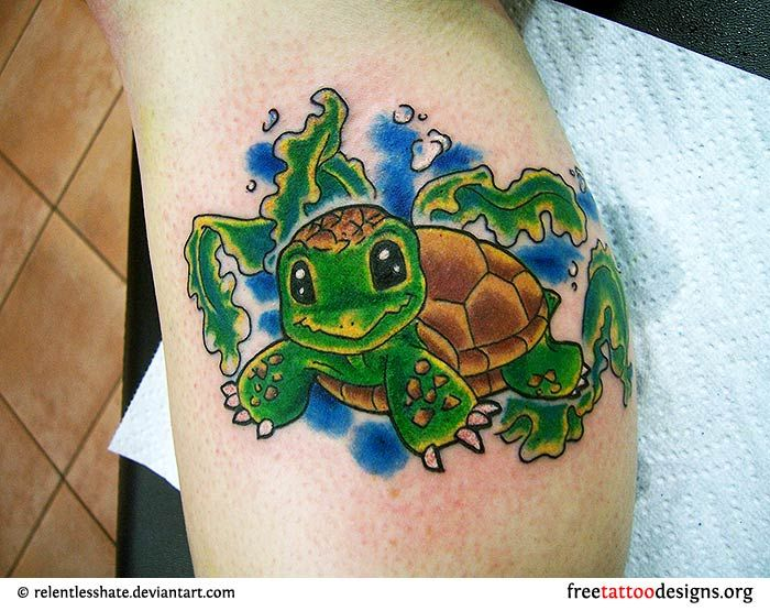 Cute turtle tattoo with eddies name and date of birth